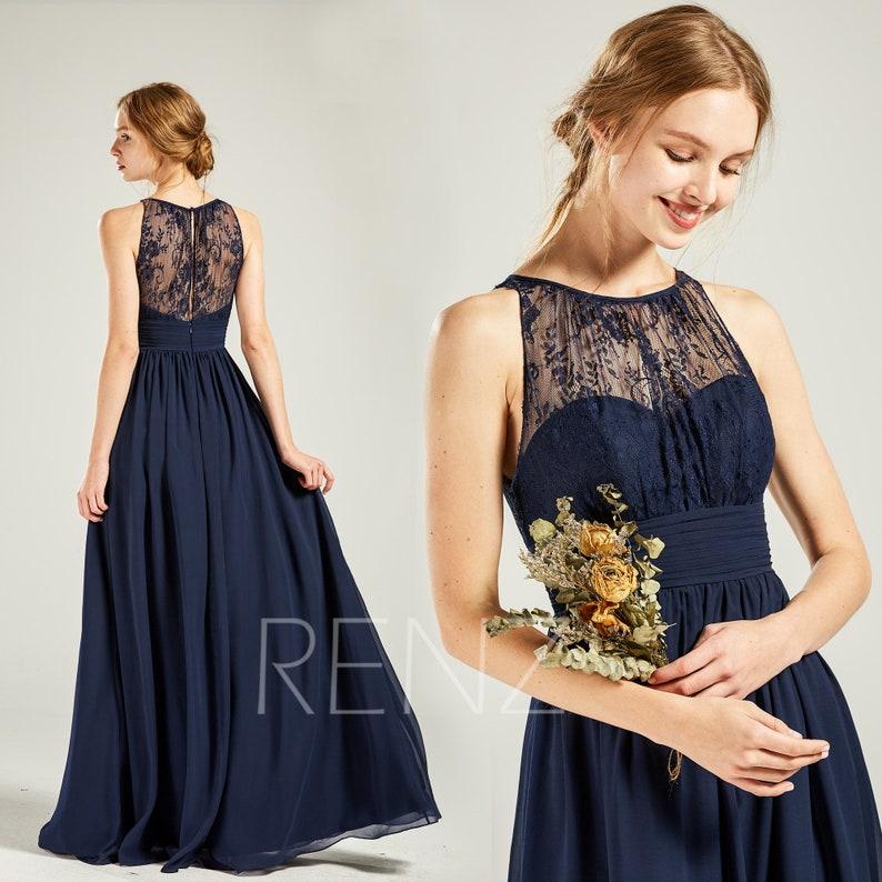 Navy Blue Bridesmaid Dress Long Chiffon Wedding Dress Empire Waist Sweetheart Illusion Prom Dress Lace Round Neck A Line Dress H685