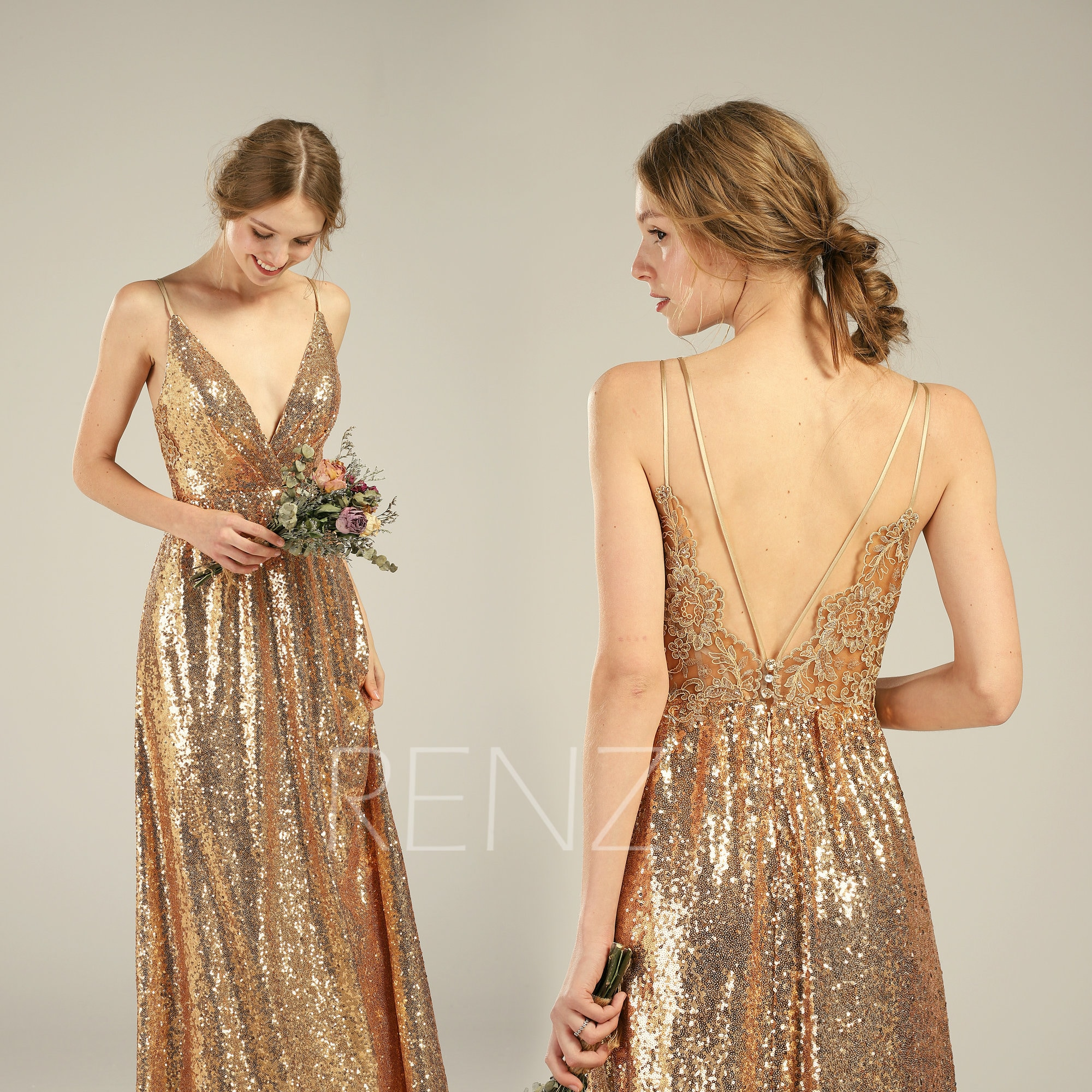 Bridesmaid Dress Gold Sequin Dress Lace Boho Wedding Dress V Neck Backless Wedding Gown Hq580