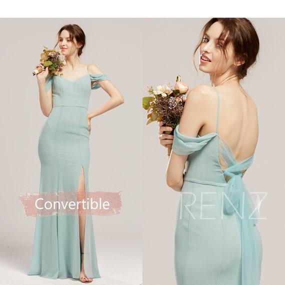 Prom Dress Mint Bridesmaid Dress Off the Shoulder Convertible Long Sash Chiffon Formal Dress Split Mermaid Infinity Evening Dress H853