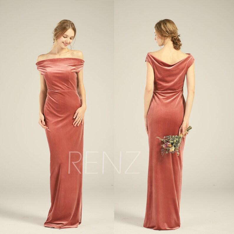 880560b160e English Rose Velvet Bridesmaid Dress Off Shoulder Wedding