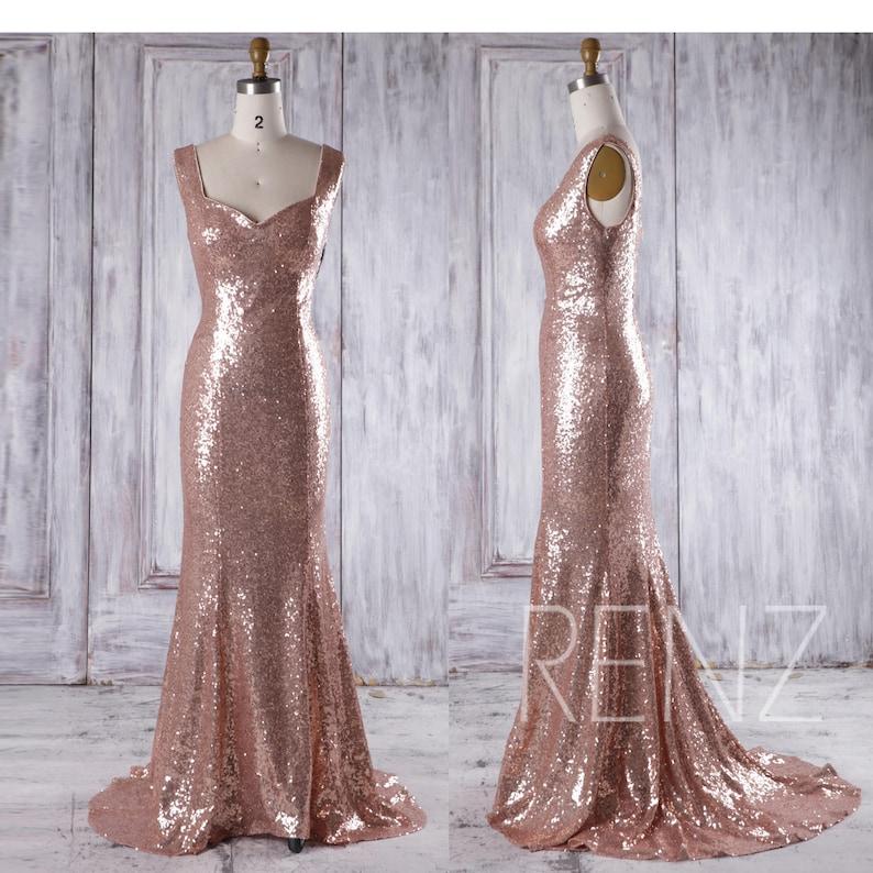 27dedc4792 Bridesmaid Dress Rose Gold Sequin Dress Wedding Dress V Neck