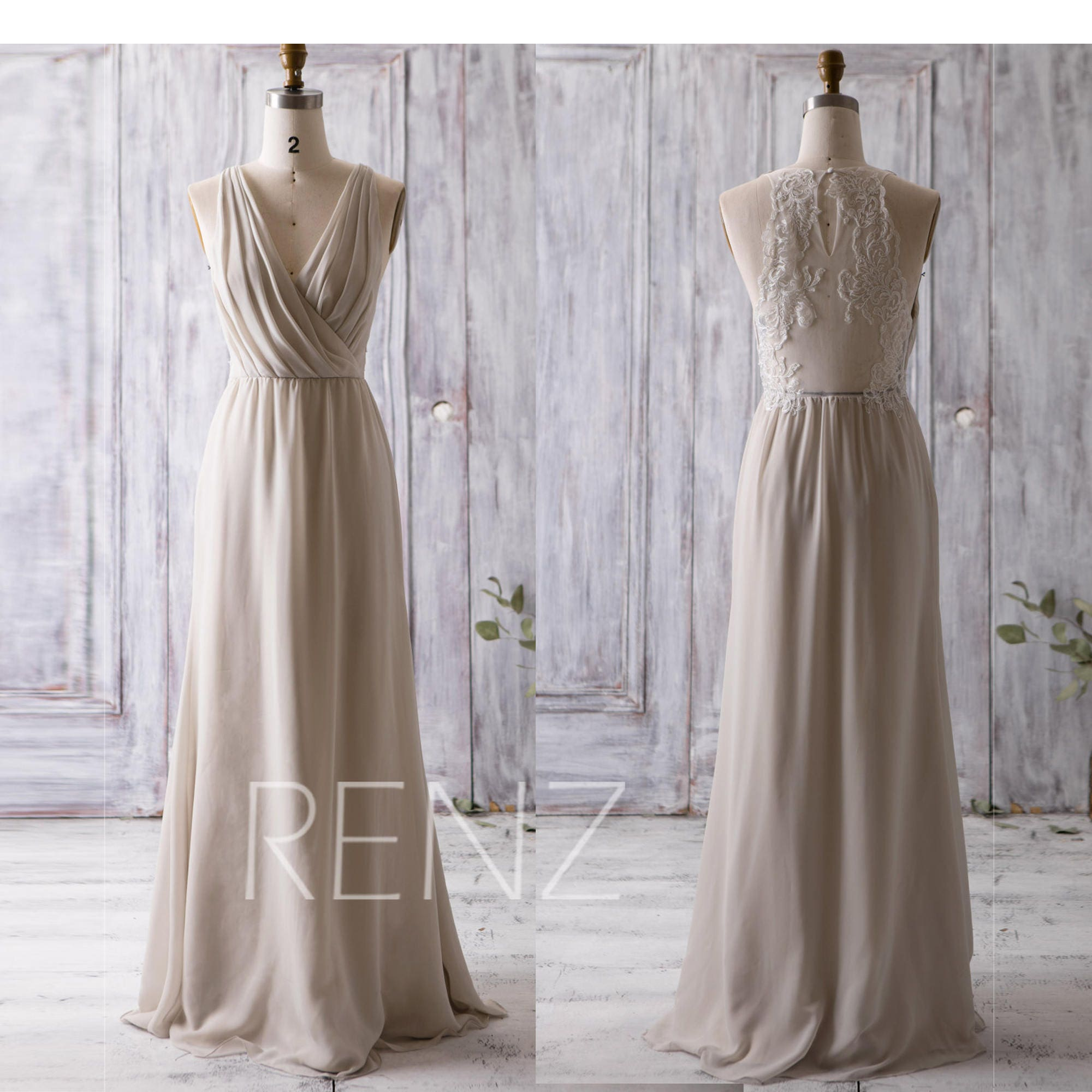 5a6e66a8c2 Beige Chiffon Bridesmaid Dresses
