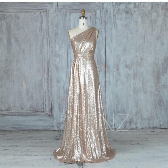 Bridesmaid Dress Tan Sequin Wedding DressRuched One Shoulder   Etsy