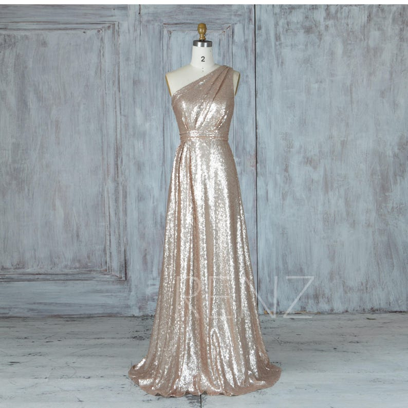 abbf9b022a9 Bridesmaid Dress Tan Sequin Wedding Dress Ruched One Shoulder