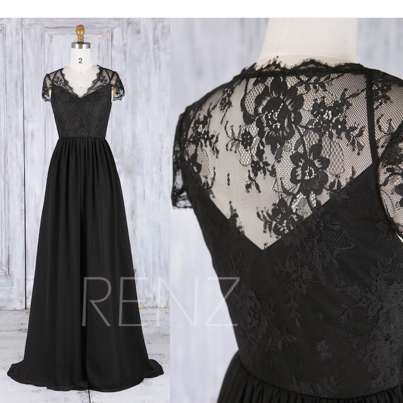 Black V Neck Bridesmaid Dress Lace Cap Sleeve Wedding Dress Illusion Prom Dress A-Line Evening Gown Mother of the Bride Party Dress L310A