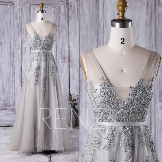 Wedding Dress Light Gray Tulle Bridal DressSquare Neck Bride | Etsy