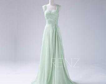 Bridesmaid Dress Dusty Mint Chiffon Dress,Double Straps Party Dress,Ruched Sweetheart Evening Dress,Long A Line Maxi Dress (F108)-Renzrags