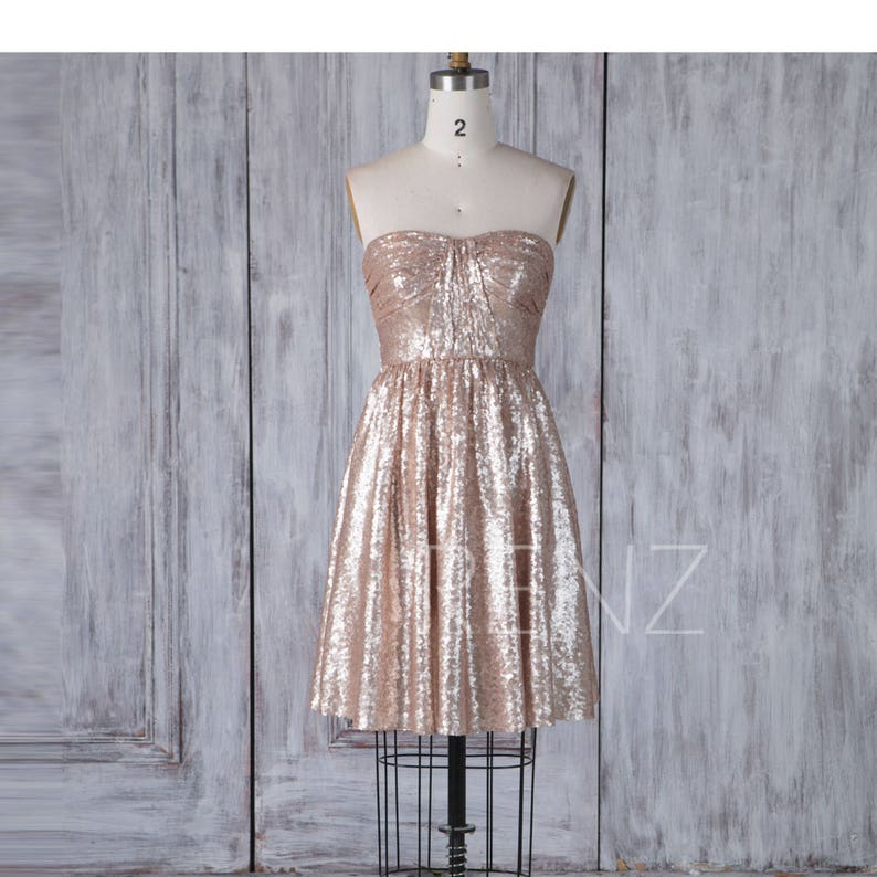 380fbe8b3b9 Bridesmaid Dress Tan Sequin DressWedding DressRuched