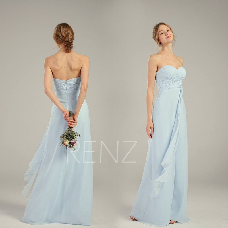 7da459b2a2a Bridesmaid Dress Light Blue Chiffon Wedding Dress Ruched
