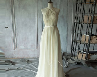 Beige Bridesmaid Dress Long, Double Straps Pleated Elegant Dress, Strapless Wedding Dress, Formal Dress, Prom Dress( T102)-Renzrags