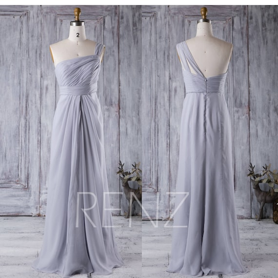 b057e181abd Party Dress Light Gray Bridesmaid DressOne Shoulder Maxi