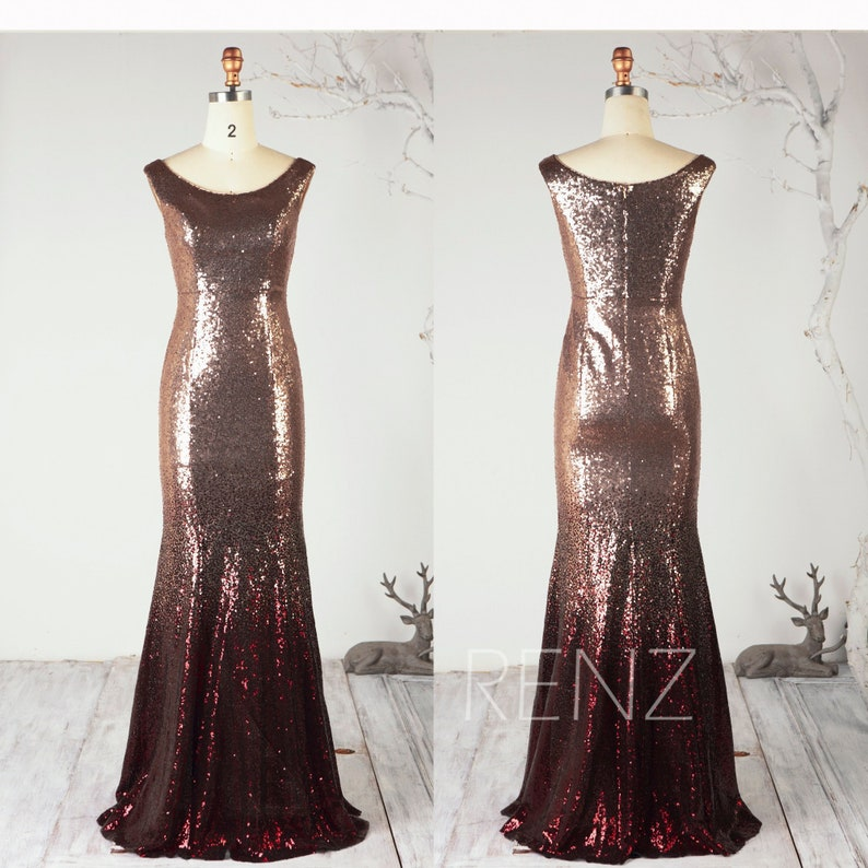 9385c7c8e6 Ombre Mermaid Sequin Dress Rose Gold   Wine Glitter Party