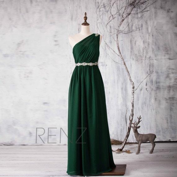 One Shoulder Green Bridesmaid Dresses
