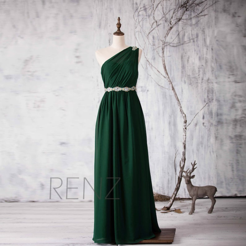 Forest Green Bridesmaid Dress One Shoulder Illusion Wedding  833cbc4d1be8