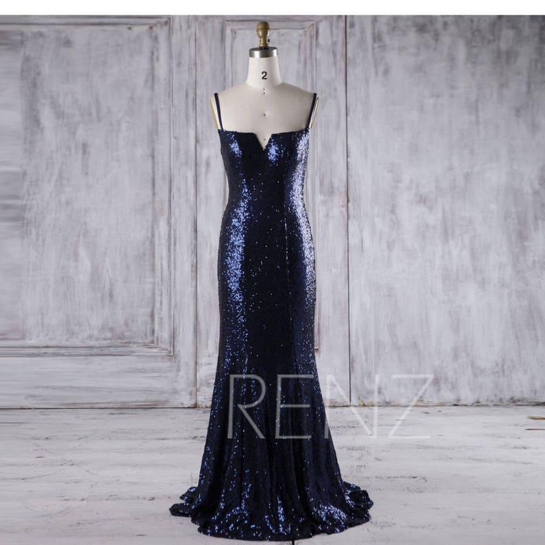 6f36053b50e Bridesmaid Dress Navy Sequin Dress Wedding Dress Spaghetti