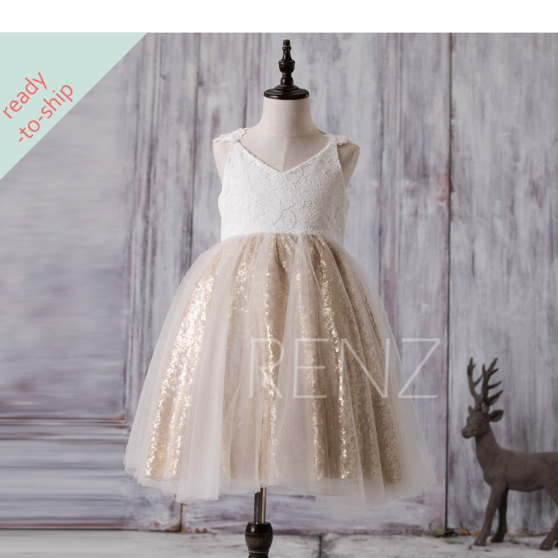 25e5857978939 Flower Girl Dress Off White Junior Bridesmaid Dress Golden Sequin Baby  Party Dress Lace Tutu Dress V Neck Girls Dress Ready-to-Ship - FK291