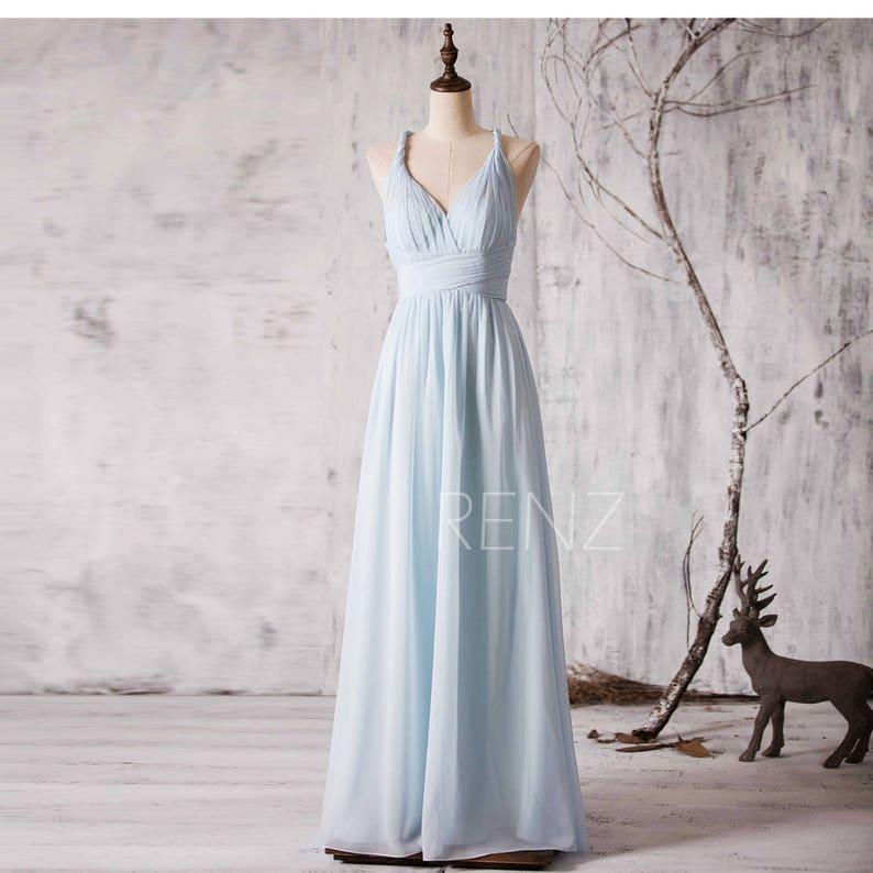 731c7a490c6419 Bridesmaid Dress Light Blue Chiffon Party DressV-neck Prom