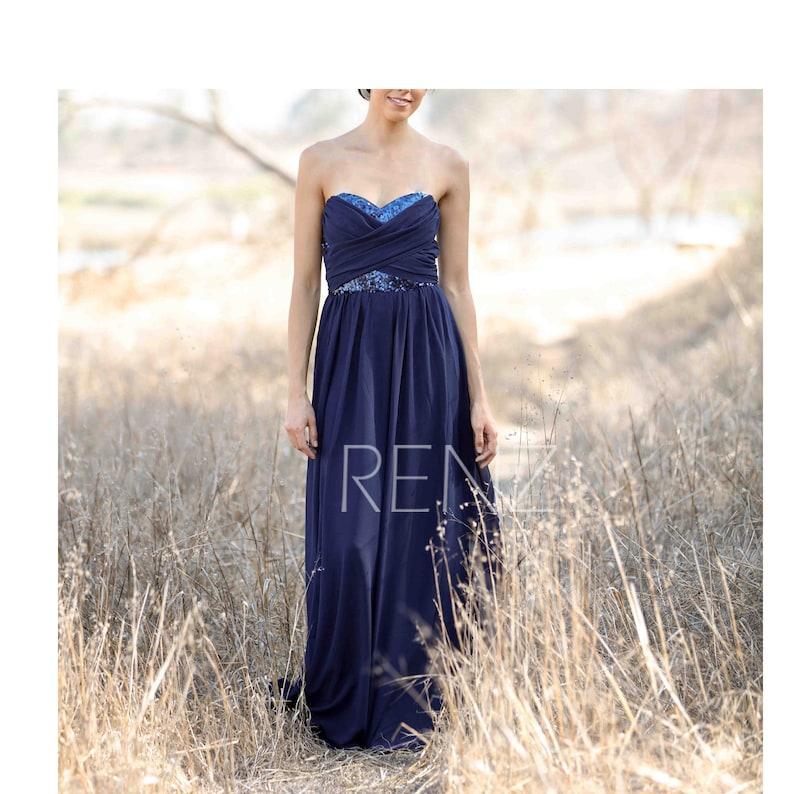 bc495de3c3a7 Navy Blue Bridesmaid Dress Beaded Sequin Wedding Dress | Etsy