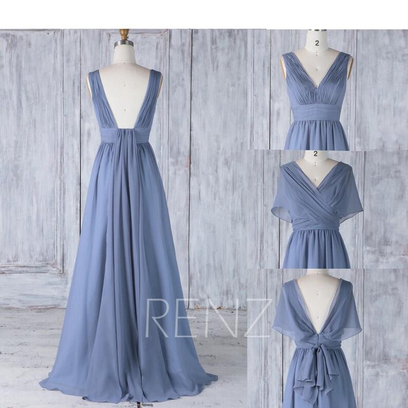 b7243dcb0aa Bridesmaid Dress Steel Blue Chiffon Wedding Dress Convertible