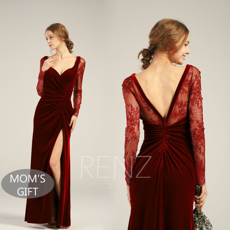 3bdb993334 Velvet Dress Wine Long Sleeve Mother of the Bride Dress Fitted