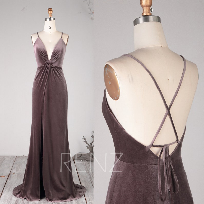 cfa55c93db Prom Dress Dark Mauve Velvet Ruched V Neck Bridesmaid Dress