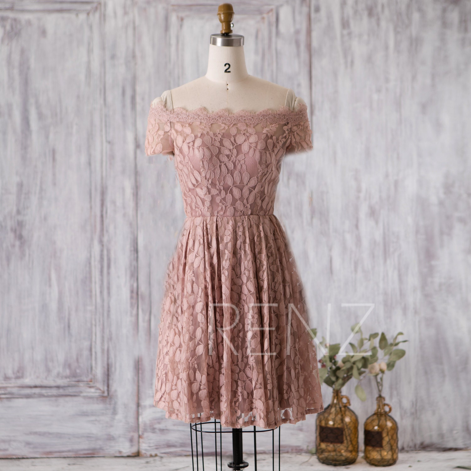4b3f2d7ab76a85 Bridesmaid Dress Dusty Rose Lace Dress Wedding Dress Off the