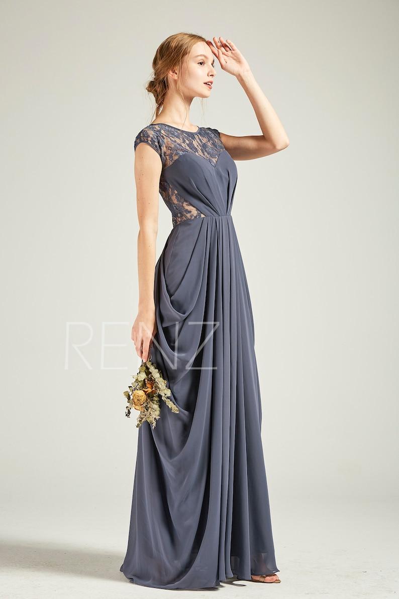 722a28afda Bridesmaid Dress Dark Steel Blue Chiffon DressIllusion