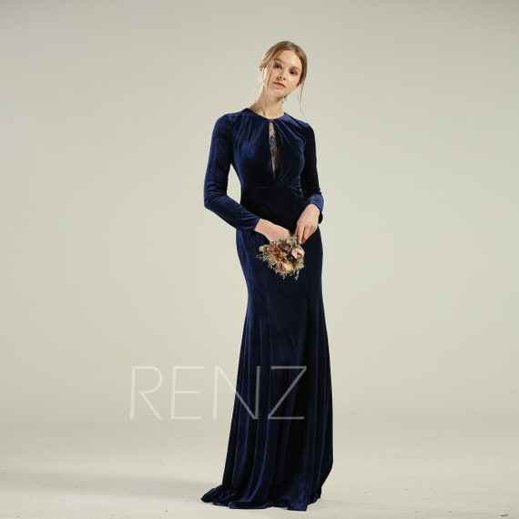 Navy Velvet Bridesmaid Dress Long Sleeve