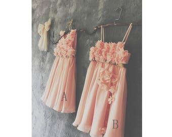 Bright Peach Mix & Match Bridesmaid Dress,Spaghetti Strap Flower Girl Dress,Short Chiffon Rosette Baby Party Dress(JK006/JK005)-Renzrags