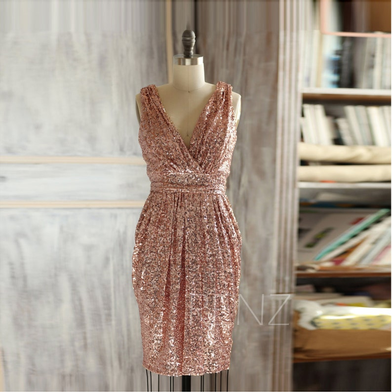 b25a01e2 Rose Gold Sequin Dress Cocktail Dress Short Formal Dress for | Etsy