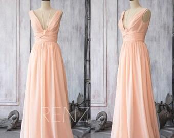 Bridesmaid Dress Peach Chiffon Dress,Wedding Dress,V Neck Formal Dress,Halter Spaghetti Strap Party Dress,A-line Maxi Dress(F088)-Renzrags