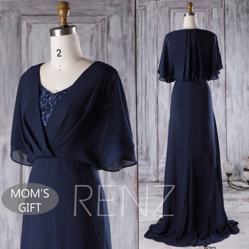 1bbc0d4b513 Navy Blue Chiffon Bridesmaid Dress Lace V Neck Wedding Dress
