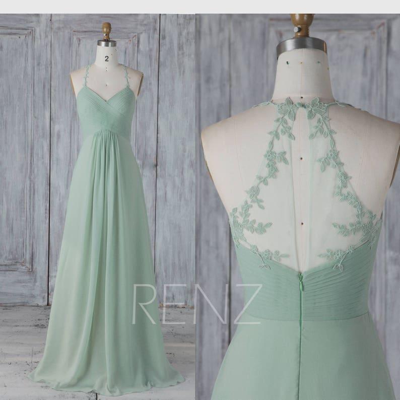 6f0b62f80250 Bridesmaid Dress Dusty Mint Chiffon Wedding Dress Lace Halter | Etsy