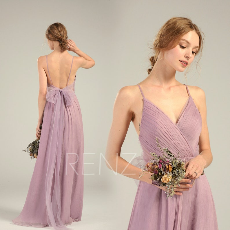 c1567e280c Bridesmaid Dress Dusty Lavender Long Chiffon Wedding Dress V | Etsy