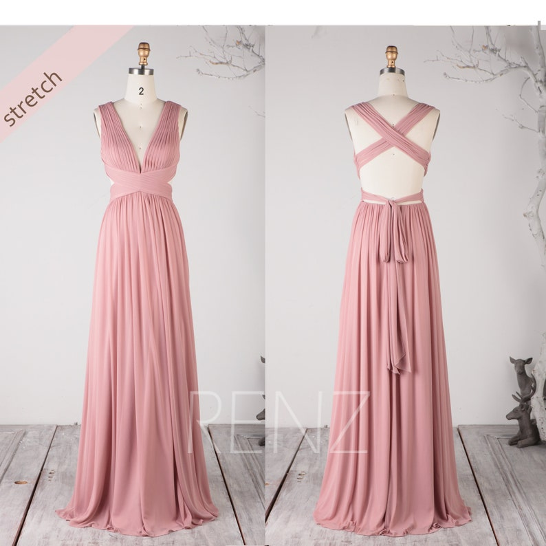 6f39a2fde25 Dusty Rose Knitting Chiffon Bridesmaid Dress Party Dress