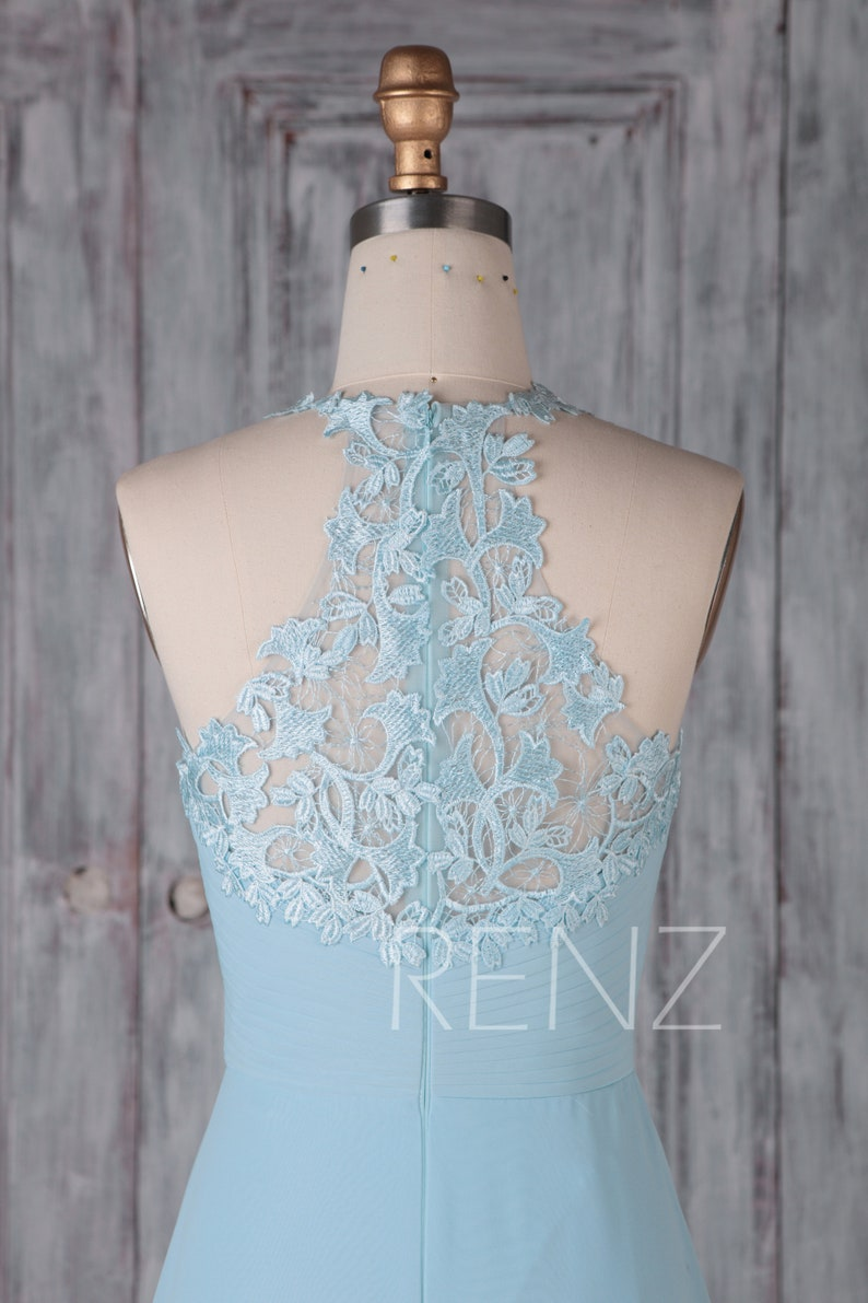 H440B Bridesmaid Dress Light Blue Chiffon Dress Wedding Dress Halter Neck Maxi Dress Ruched V Neck A-line Prom Dress Sleeveless Party Dress