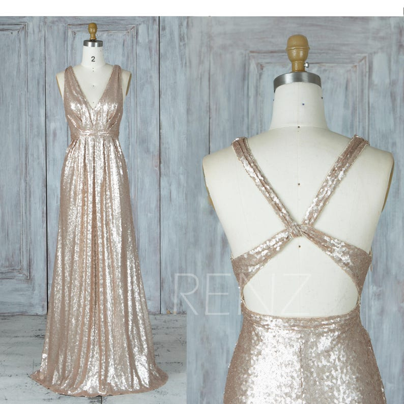9bb8a4a0 Tan Sequin Bridesmaid Dress Ruched V Neck Party Dress Criss | Etsy