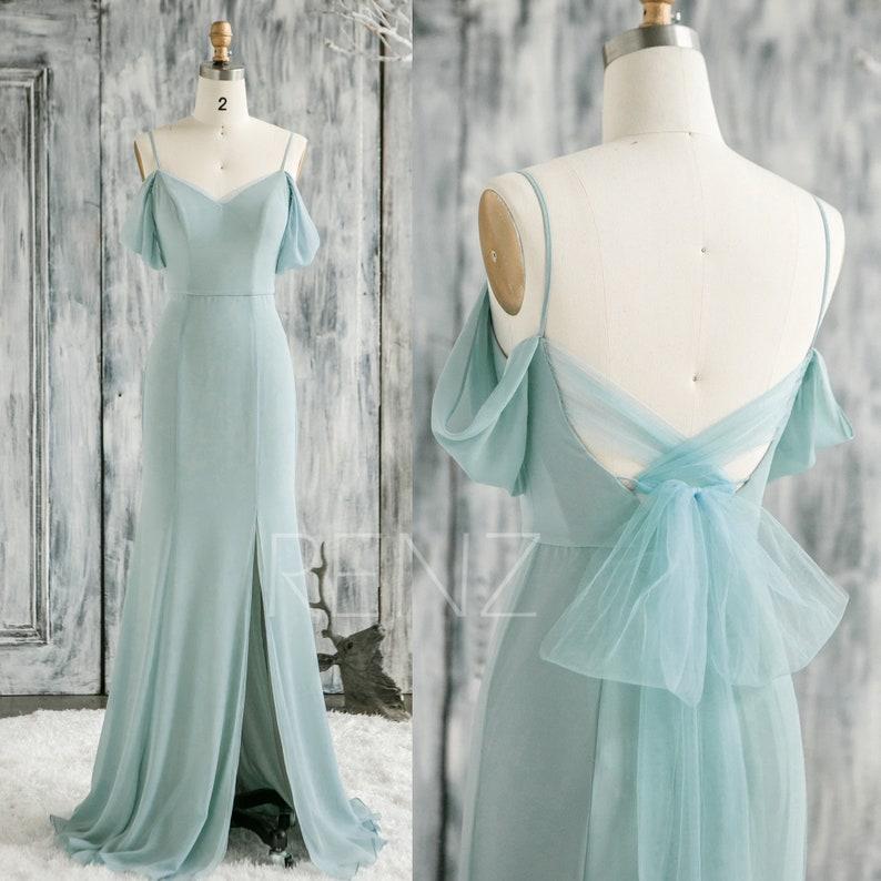 Prom Dress Dusty Mint Bridesmaid Dress Detachable Off the Shoulder Long Sash Chiffon Formal Dress Split Mermaid Infinity Evening Dress(H853)