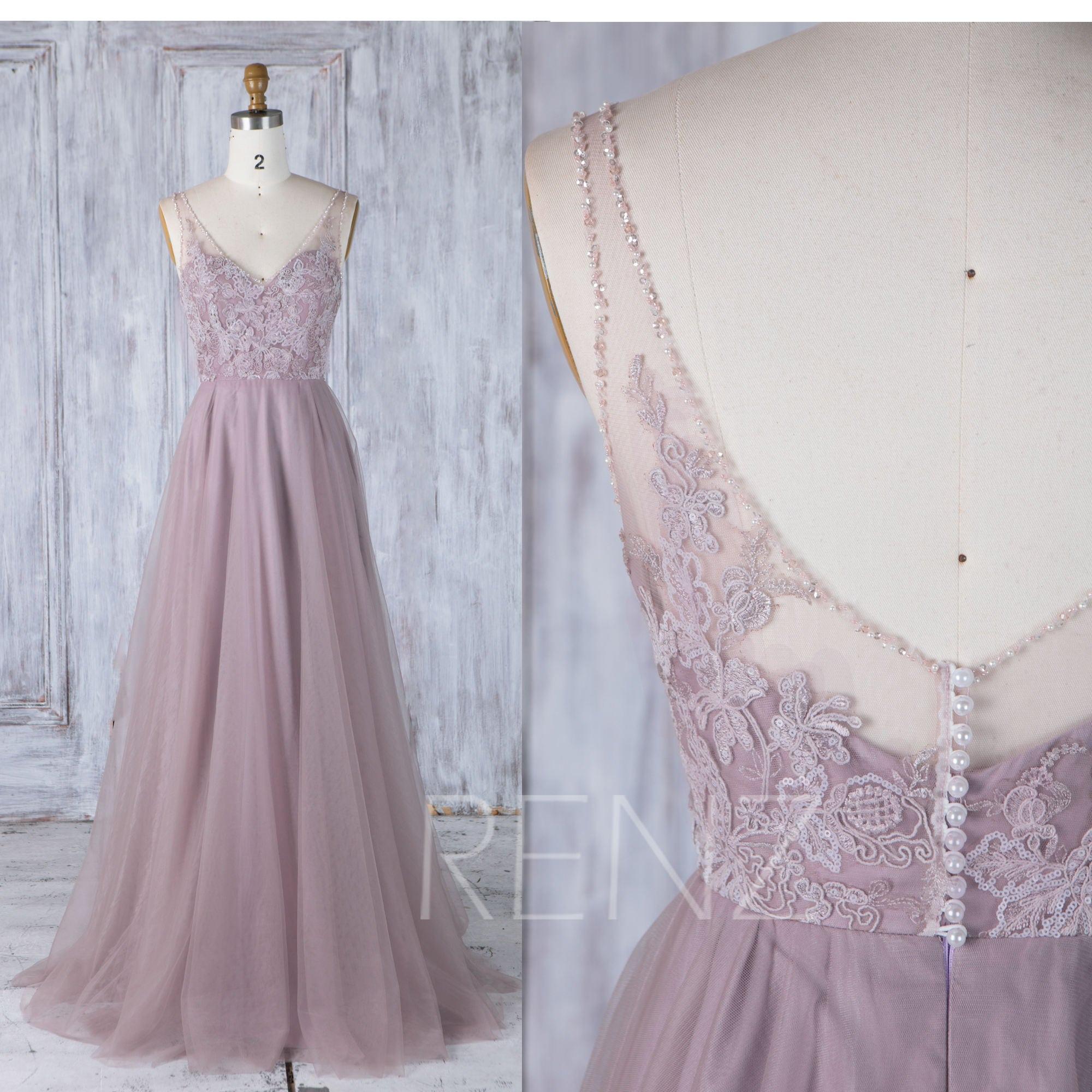 Brautjungfer Kleid dunkel lila Tüll Kleid Brautkleid