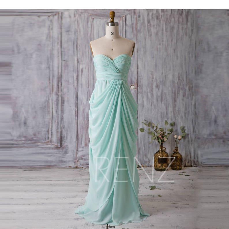 2b5f486ba68 Prom Dress Mint Blue Chiffon Bridesmaid Dress Draped Skirt