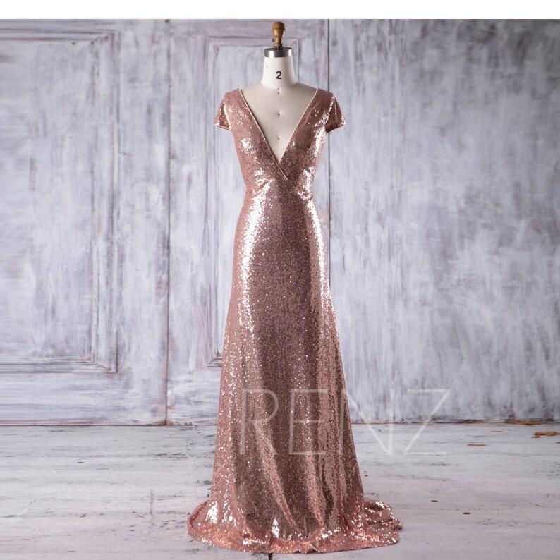 Rose Gold Sequin Bridesmaid Dress Train Sexy Deep V Neck  8dd001ce4324