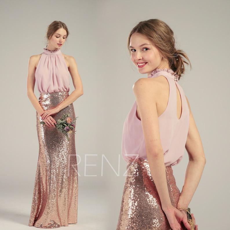 3b42c3e696d Demoiselle d honneur robe Sequin or rose robe blush robe en mousseline de  soie mariage robe ruché col haut maxi robe séparée Top équipé robe de soirée  ...
