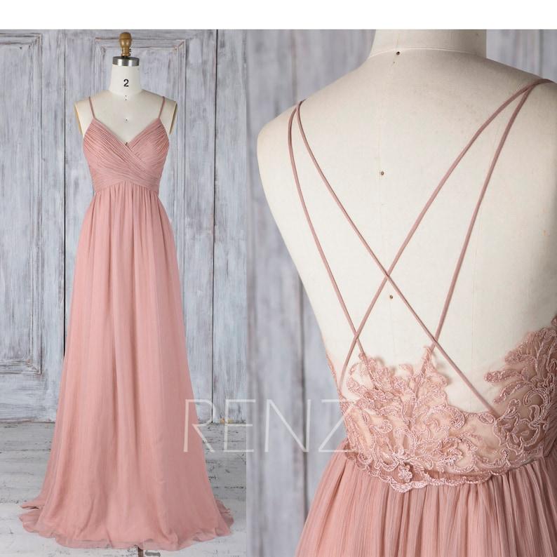 Bridesmaid Dress Dusty Rose Boho Wedding Dress Empire Waist image 0