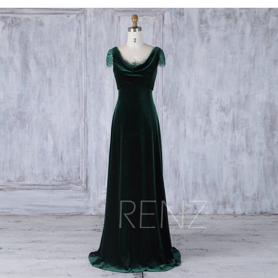 online shop professional design buy Bridesmaid Dress Dark Green Velvet Dress,Wedding Dress,Cap Sleeve Maxi  Dress,Illusion Draped Scoop Neck Prom Dress,A Line Party Dress(LV273)