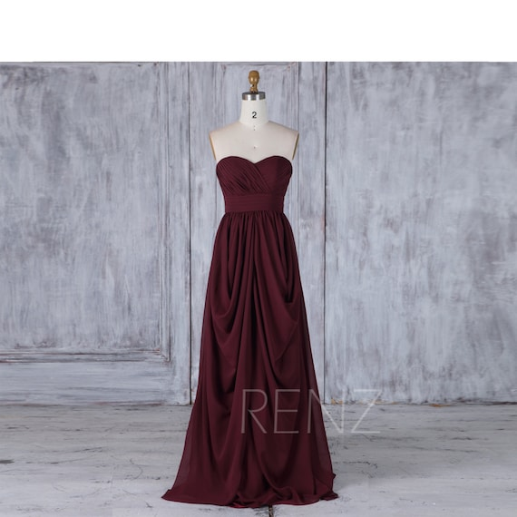 Maroon Chiffon Bridesmaid Dress Draped Wedding Dress | Etsy