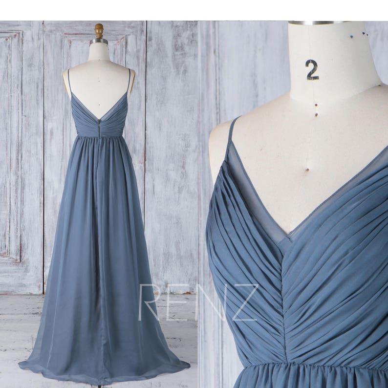 9a3d1019d3b0 Long Bridesmaid Dress Dark Steel Blue Backless Simple Wedding | Etsy