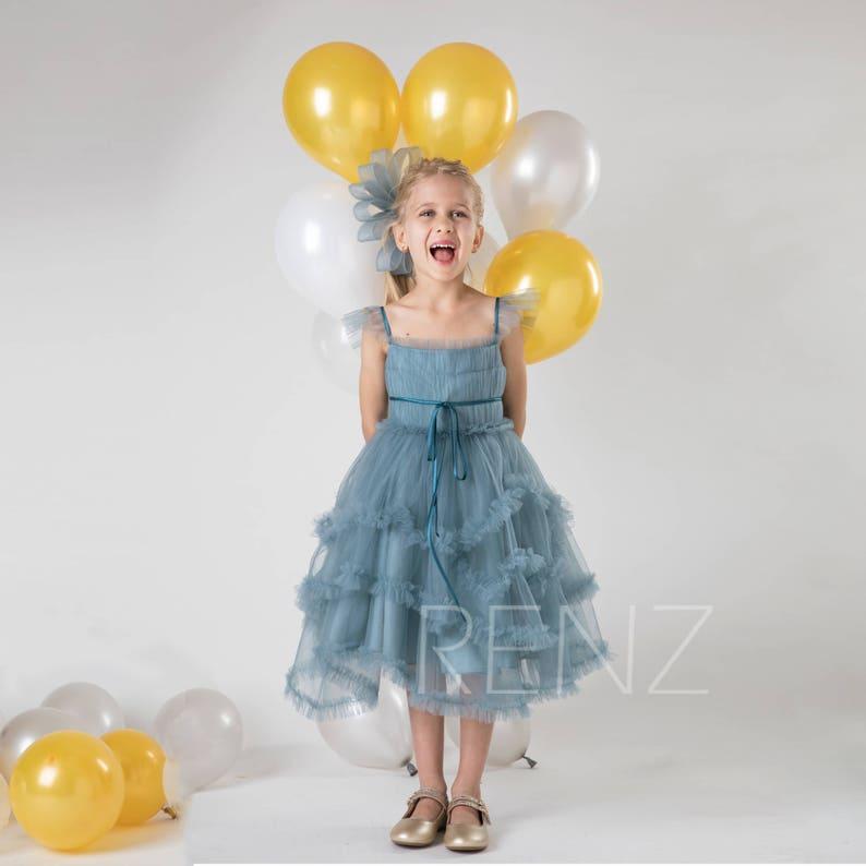 c4432dac7 Dusty Blue Junior Bridesmaid Dress Ruffled Sleeve Flower Girl | Etsy