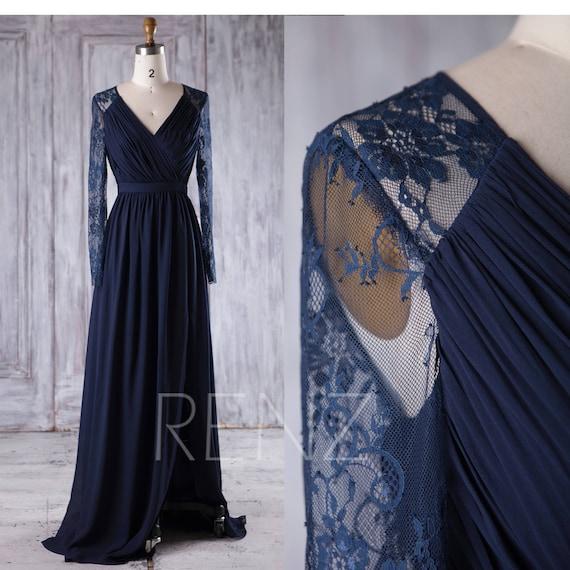 Long Sleeve Navy Blue Chiffon Bridesmaid Dressv Neck Wedding Etsy