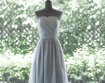 Chiffon Bridesmaid Dress, Medium Gray Cocktail Dress,Illusion Bateau Neck Short Prom Dress,Lace Formal Dress Tea Length(F265)-Renzrags