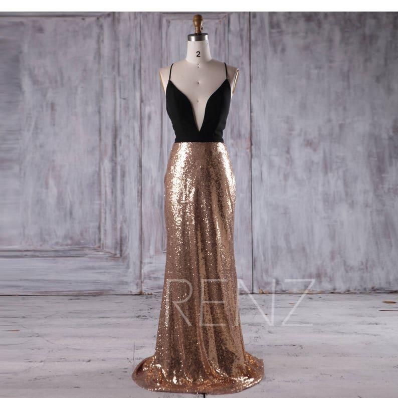 6c7bc0b2 Party Dress Black Chiffon Bridesmaid Dress Deep V Neck Wedding | Etsy